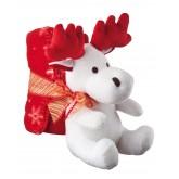 Pluszowy łoś z kocem polarowym